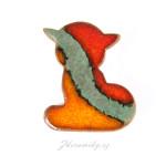 Keramická brož, ručně vyráběná, lehoučká. Z dílny Nikoly Černíkové Kunčice pod Ondřejníkem (Beskydy)